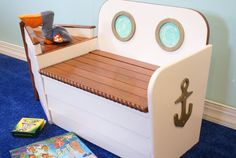Nautical Boat Toy Box with bench. A toy box the kids can sit on. Really happy about this one.