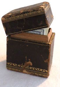 Antique Early 1900s Flinch! Card Game in Leather Covered Wooden Box