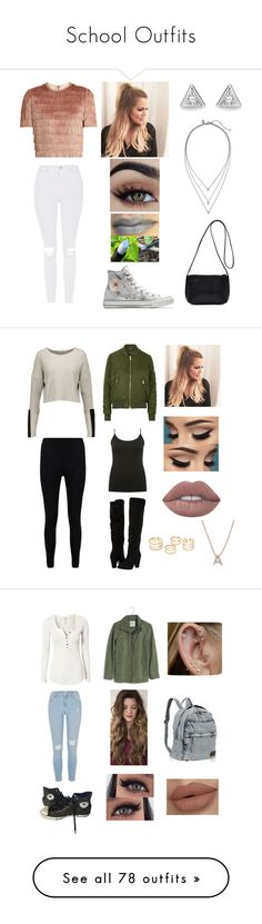"""""""School Outfits"""" by elenialex ❤ liked on Polyvore featuring Converse, Raey, Topshop, Banana Republic, Autumn Cashmere, Boohoo, M&Co, Dorothy Perkins, Bony Levy and Free People"""