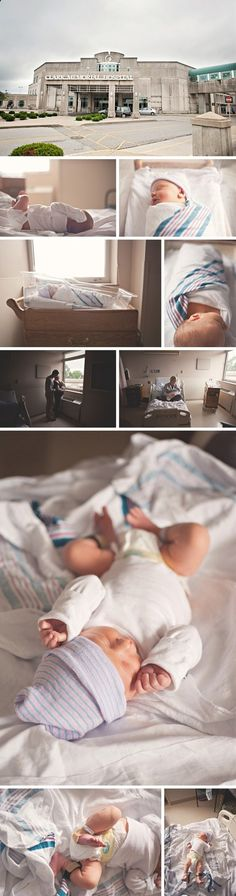 sweet newborn photos (good idea to take a photo outside the hospital)