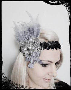 Grey & Silver 1920s Flapper Headband by alofashion on Etsy, $24.00