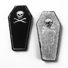 Chenille Coffin Embroidered Patch - These are to die for! - 4 inch High Quality Chenille / Embroidered Iron-On Patch