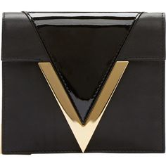 Versus Black Leather Gold V Anthony Vaccarello Edition Clutch (£220) ❤ liked on Polyvore featuring bags, handbags, clutches, purses, accessories, fold-over clutches, leather clutches, leather handbag purse, gold clutches and leather hand bags