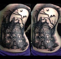 14 Creepy & Cool Haunted House Tattoos!   INKEDD
