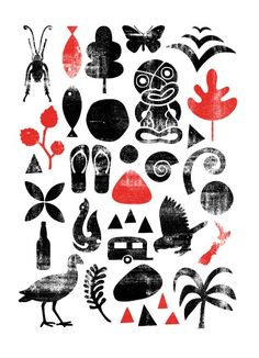 Icons of New Zealand by Greg Straight for Sale - New Zealand Art Prints Nz Art, Art For Art Sake, Doodles Zentangles, Maori Designs, New Zealand Art, Maori Art, Kiwiana, Simple Illustration, Pallet Art