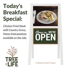 Don't miss our Wednesday breakfast special: Chicken-fried steak with country gravy. Home-fried potatoes available on the side. Doors open at 7am. #Breakfast#FarmtoTable