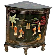 Vintage Black Asian Corner Cabinet Buffet Geisha Flower Theme Two Doors shelf Nationwide shipping available please call for best rates Entryway Storage Cabinet, Corner Storage Shelves, Door Shelves, Shelf, Chinese Furniture, Oriental Furniture, Antique Furniture, Victorian Furniture, Small Corner Cabinet