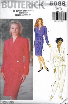 Butterick 5068 Women's 90s Suit Top, Mock Wrap Skirt & Pants Sewing Pattern Size 12 to 16 Bust 34 to 38 by Denisecraft on Etsy