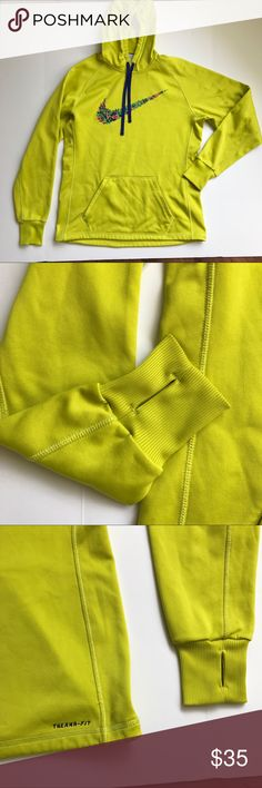 """[Nike] Therma-Fit Neon Green/Yellow Hoodie Nike Athletic Hoodie in Neon Green/Yellow Color. Pullover Hoodie. From their Therma-Fit line. Also has thumb holes in the sleeves. Good Condition. Some stains all shown in pictures. May come out when treated and washed. Size Medium. Bust-21"""" Length-28"""" Sleeves-31"""" Made in Vietnam. 100% Polyester. Nike Tops Sweatshirts & Hoodies"""