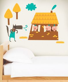 The three little pigs in your bedroom. Wall Stickers, Wall Decals, Pull Wagon, Cute Little Drawings, Raggedy Ann And Andy, Three Little Pigs, Kids Running, Third, Toddler Bed
