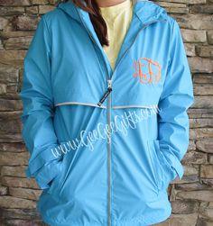 Aqua Monogrammed Personalized Rain Jacket, Monogram Rain Jacket