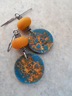 Cool Complements ... Polymer Clay, Lampwork and Sterling Silver Wire-Wrapped Earrings by juliethelen on Etsy https://www.etsy.com/listing/198116237/cool-complements-polymer-clay-lampwork