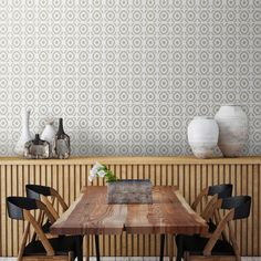 Subtle but stunning. Tyles Casablanca pattern in warm grey on this dining room wall. http://tyles.co/collections/traditional/products/tyles-casablanca-in-warm-grey