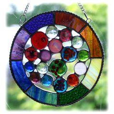 Rainbow Circles Suncatcher Stained Glass Handmade fused