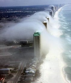 An unusual cloud formation hovered over Panama City, Florida, giving the impression of tsunami-style waves. The phenomenon was snapped by pilot JR Hott, from Panhandle Helicopters.