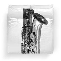 #cool #saxaphone #black #white #trumpet #music #band #jazz #bigband #horns #modern #sleek #original #unique #duvet #bedspread #bedroom #cool design for $122.71