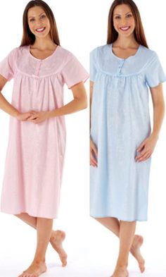 Fiona Poly/Cotton Short Sleeve Embossed Floral Nightdress in Blue Pyjamas, Pjs, Nighties, Cotton Shorts, Simple Designs, Soft Fabrics, Pink Blue, Drawers, Malaysia