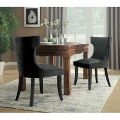 Chic Home Zeke Dining Side Chair Velvet PU Leather Espresso Wood Frame Modern Transitional, 2pc Set, Charcoal/Grey, Black