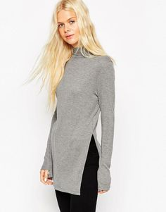 ASOS | ASOS Tunic With Side Split And Polo Neck at ASOS