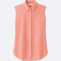 WOMEN PREMIUM LINEN SLEEVELESS SHIRT, ORANGE, large