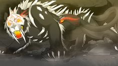 DeviantArt: More Like LUNAverse Fanon - Grimm Sabertooth Chimera by Lightning-in-my-Hand Shadow Creatures, Weird Creatures, Magical Creatures, Fantasy Creatures, Creature Concept Art, Creature Design, Rwby Grimm, Rwby Characters, Alien Character