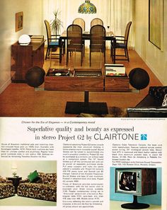 Advertisement showing a Clairtone Project G2 stereo and colour TV, Chatelaine, October 1966
