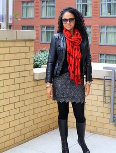 StilettoEsq: Another way to dress down lace - thick stockings and a chunky sweater