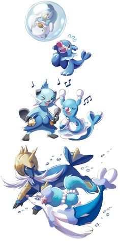 >_< @_@ age_progression air_bubble brionne bubble comic conmimi dewott evolution eyes_closed facial_hair fangs fins highres horns microphone music musical_note mustache no_humans oshawott otter pokemon pokemon_(creature) pokemon_(game) pokemon_bw pokemon_sm popplio primarina samurott seal singing swimming tail tail_fin white_background