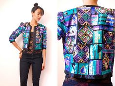 Vtg 80's Tribal Sequined Trophy Jacket  http://www.etsy.com/shop/LuluTresors