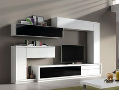 Contemporary TV unit and wall cabinet composition in many colour choices