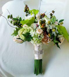 Wedding Cake Topper Green Callas Ivory Custom cake by AmoreBride, $61.00