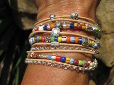 Boho  Enldless Leather Wrap Bracelet  Africa by fleurdesignz, $38.00