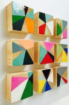 MINI PINWHEELS an Original Painted Wood Block Wall Art- Abstract Painting Modern Wood Wall Sculpture Original bemalte Holzblock Wandkunst – abstrakte Malerei moderne Holzwand … Mehr Art Diy, Diy Wall Art, Wood Wall Art, Wood Walls, Art On Wood, Wall Art Crafts, Wall Decor, Wall Art Sets, Wood Paneling