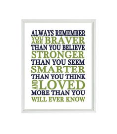 Always Remember You Are Braver Than You Believe Quote, Nursery Wall Art, Inspirational Print, Typography, Baby Boy Nursery, Navy Blue Green