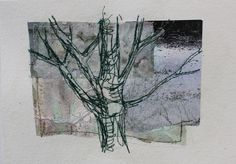 Mote Park Tree 4 £30 on 7x5 Collage and stitch(16x12cm watercolour paper) Sold