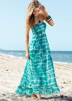 Sea green beaded halter maxi dress  I like the pattern, but not the halter. Amazing color.
