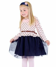 Another great find on #zulily! Pink & Navy Polka Dot Belted Dress - Toddler & Girls by Di Vani #zulilyfinds