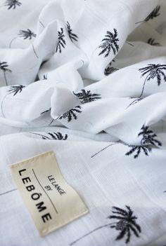 Maxi langes Harlow - imprimé palmiers noir et blanc - mousseline de coton  bio- fabriqué 8e77723c193