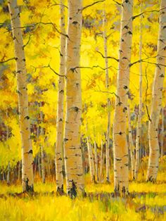 Golden Dance by Robert Rohm Oil ~ 48 x 36 Forest Painting, Autumn Painting, Fall Paintings, Birch Tree Art, Aspen Trees, Collage, Tree Forest, Art Party, Triptych