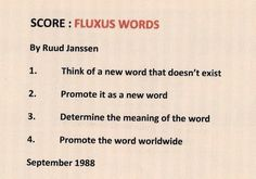 Received: Fluxus word mail-art and performance score from Ruud Janssen (Breda, Netherlands) - International Union of Mail-Artists