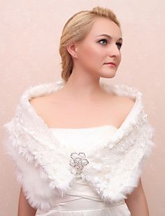Faux Fur And Lace Wedding/Party Shawls