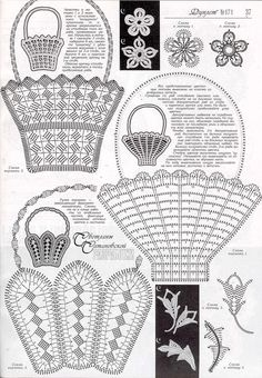 "Photo from album ""Дуплет 171 Модница-егоза on Yandex. Crochet Basket Pattern, Crochet Diagram, Crochet Chart, Crochet Motif, Irish Crochet, Crochet Designs, Crochet Doilies, Crochet Flowers, Crochet Patterns"