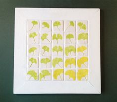 Ceramic tiles wall hanging leaves of the gingko door HollandCeramics