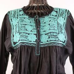 Three Button Embroidered Long Sleeve Blouse, Chiapas - Zinnia Folk Arts Mexican People, Mexican Textiles, Mexican Blouse, Mexican Folk Art, Zinnias, Blouse Dress, Embroidered Blouse, Hand Weaving, Mexico