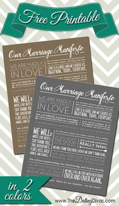 FREE printable Marriage Manifesto.  Just pin four fun posts then you have instant access. This would make the perfect anniversary or wedding gift!! www.TheDatingDivas.com #wallart #freeprintable #freebie
