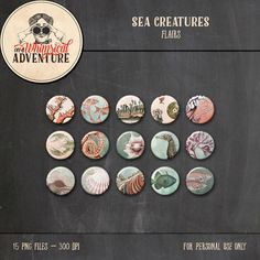 Digital flairs instant download, digital scrapbooking embellishments, vintage sea creatures clipart, ocean life buttons fish seahorse coral by AWhimsicalAdventure on Etsy https://www.etsy.com/listing/455098092/digital-flairs-instant-download-digital