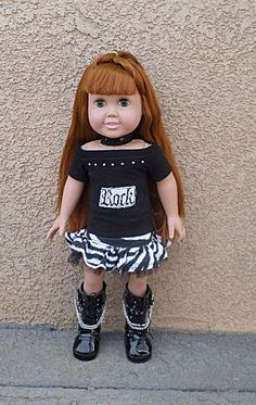 American girl 18 inch doll Rock outfit by MagzRockingStyle on Etsy