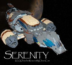 Joss Whedon's firefly-class ship Serenity out of LEGO bricks. Serenity Ship, Firefly Serenity, Firefly Ship, Firefly Images, Malcolm Reynolds, Scarred For Life, Cool Lego Creations, Geek Out, Lego Brick