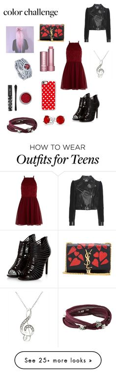 """""""Red and pink"""" by brokenclass on Polyvore featuring Yves Saint Laurent, New Look, BERRICLE, Casetify, King Baby Studio, Bling Jewelry, Alexander McQueen, colorchallenge and redandpink"""