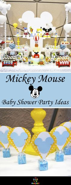 Ever popular Mickey Mouse theme for Baby Shower party. #mickeymouse #babyshower